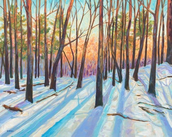 "Original Painting: ""Winter Light"" Snow Painting, Winter Woods, Solstice, Michigan Winter, woods sunset, light and trees, winter forest"