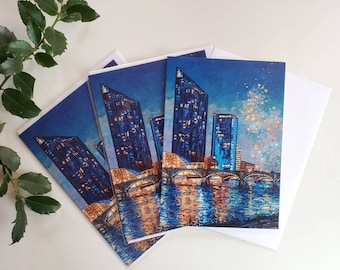 Grand Rapids Greeting Cards, Pack of three blank cards, envelopes, Michigan, Christmas, Happy Holidays, Happy Birthday