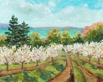 Sutton's Bay View, Leelanau, Leland, Old Mission, Cherry Trees, Orchard, Cherry blossom, Michigan art, Betsy ONeill,