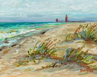 Grand Haven, Beach, Lake Michigan, Pier, Lighthouse, Beach, Sailboats, Michigan Art, Betsy ONeill