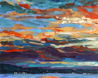 We Are Connected, Lake Lights, Sunset painting, Lake Michigan, Cottage art, lake sunset, beach sunset, Betsy ONeill, Michigan Art