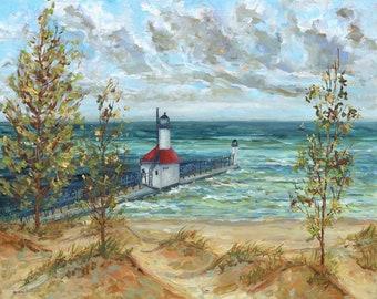 Original Painting of: Saint Joseph, Pier, Michigan Painting, Benton Harbor, Michigan Lighthouse