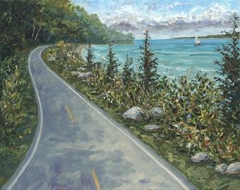 Coastal Road, M185, Mackinac, Lake Michigan, Bike, Road, Betsy ONeill, Michigan Art, Mackinac Art, Mackinac Island