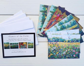 Flowers Of The Field, Floral, Greeting Cards, Pack of 8 blank cards, envelopes,