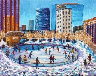 Ice Skating At Rosa Park's Circle, Grand Rapids MI, Downtown Skating, Monroe Center, Betsy ONeill, Michigan Art, Michigan Artist