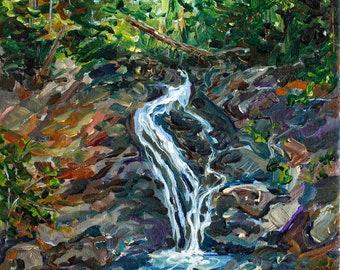 ORIGINAL Painting: Jacob's Falls, Keweenaw Michigan, Eagle River, Eagle Harbor, Backpacking, U.P. Waterfalls Painting