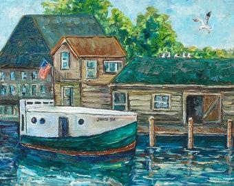 Janice Sue, Historic Fishtown, Leland, Boat Painting, M119, Fishing Boat, Summer Vacation, Lake Leelanau, Betsy ONeill, Michigan Art