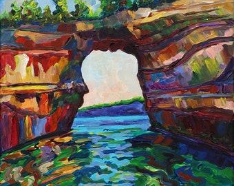Pictured Rocks, Munising Michigan, Lake Superior, Upper Peninsula, Betsy ONeill, Michigan Art, Marquette, Lake Superior