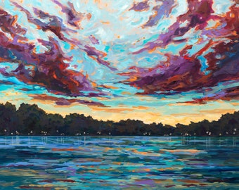 Peace of Mind, Limited Edition Reproduction Print, painting, harbor town, Michigan art, lake life, sunset, beach sunset, Michigan Sunset