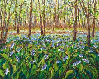 Bluebells, Spring Woods, Native Wildflowers, Flora and Fauna, Flower Art, Forest, Michigan Artist, Betsy ONeill,