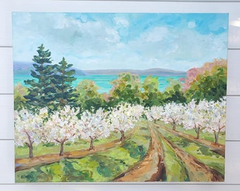 """Original Painting: """"Sutton's Bay View"""" Spring Cherry Orchard, Old Mission, Leelanau, M22, Michigan art, Betsy ONeill"""