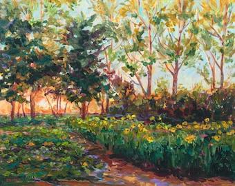 Ben's Garden, Limited Edition Print, Sunflowers, Michigan Farm, Garden, urban garden, Country field, Michigan art, Betsy ONeill