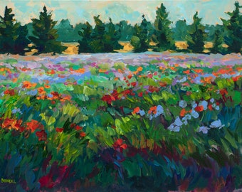Poppies of Fennville, Limited Edition Print, Fennville, landscape, Poppy Field, poppy painting, cottage decor, Michigan art, Betsy ONeill