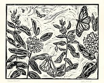 Pollinators, Butterfly, Monarch, Linocut, Fine Art Print