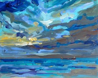 Freighter at Night, Lake Superior, U.P. Michigan, Michigan Boats, Sunset Painting, Boats at Night, Betsy ONeill, Michigan Art