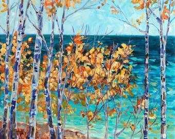 Blue and Gold, Birch Trees, Michigan Art, Beach Paintings, Michigan Shoreline, Upper Peninsula, Lake Superior, Betsy ONeill, Michigan Artist
