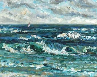 Escape, Sail Boat, Waves, Lake Life, Beach Art, Lake Michigan, Michigan Art, Reproduction, Betsy ONeill, Sailboat Art,