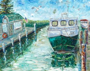 Fishtown's Joy, Historic Fishtown, Leland, M119, Boat Painting, Joy, Fishing Boat, Summer Vacation, Michigan art, Betsy ONeill