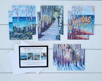 Four Seasons Inspired Greeting Cards, Pack of 8 blank cards, envelopes, Michigan Art, Michigan Cards, Betsy ONeill, Greeting Card, Note Card