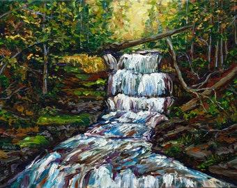 ORIGINAL Painting: Wagner's Falls, Munising Michigan, Backpacking, U.P. Waterfall Painting