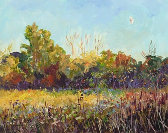 Fall Equinox, Limited Edition Prints, Autumn Field, Moon, Fall trees, Michigan, landscape painting, Betsy ONeill