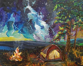 Camping Under the Stars, Milky Way, Campfire, Stars, Tent Camping, Michigan, Adventure, Solitude, FCamping Art, Betsy ONeill,