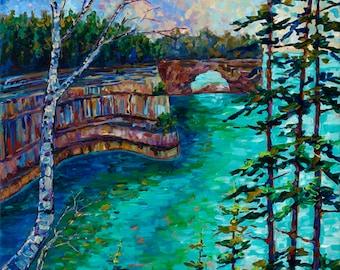 Grand Portal, Pictured Rocks, National Lakeshore, Munising Michigan, Upper Peninsula, Backpacking, Fine Art, Michigan Art, Betsy ONeill