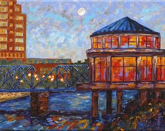 Blue Bridge, Grand Rapids, Public Museum Carousel, Michigan Painting, Fine Art Giclee, Museum Carousel, Betsy ONeill, Michigan Art