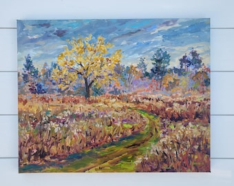 """Original Painting: """"Golden Oak"""" October, Field Painting, Fall Meadow, Autumn, Fall Field, Plein air painting, trail, betsy oneill"""