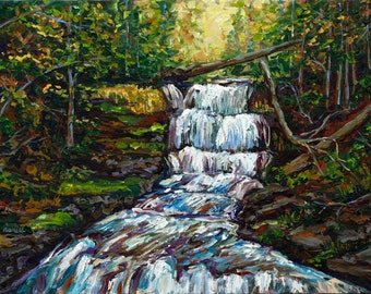 Waterfalls of Michigan, Munising, Wagner Falls, Upper Peninsula, Fine Art Print, Giclee, Canvas Print, Michigan Art, Betsy ONeill