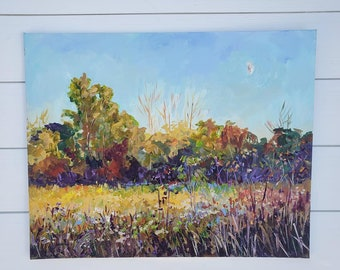 """Original Painting: """"Autumn Equinox"""" September, Field Painting, Fall Meadow, Autumn, Fall Field, Plein air painting, trail, betsy oneill"""