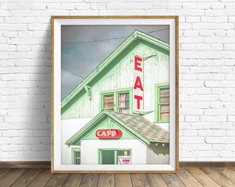 "typography art, kitchen art, kitchen decor, instant download art, printable art, photography, instant download, rustic -""Truck Stop Cafe"""