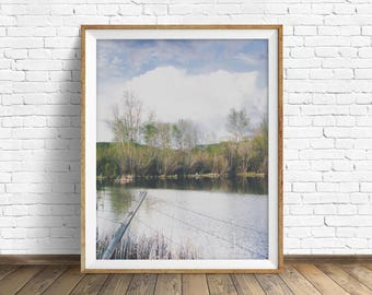 """landscape photography, clouds, nature prints, instant download printable art, printable wall art, landscape art, wall art - """"Willow Pond"""""""