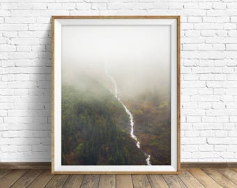 "landscape wall art, instant download printable art, printable wall decor, printable wall art, large art, prints - ""Flowing Through the Fog"""