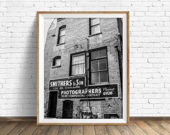 "black and white photography, large art, printable art, instant download printable art, digital download, industrial art, gray - ""Smithers"""
