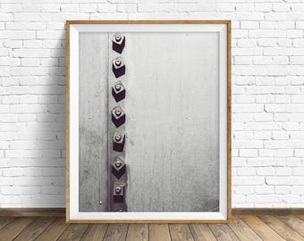 """black and white photography, large art, large wall art, instant download printable art, digital download, industrial art - """"Rivets No. 1"""""""