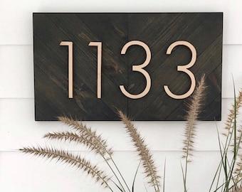 Horizontal Address Sign, Chevron Horizontal Sign, Wood Address Sign, Herringbone Address Sign, Wooden Chevron Sign, Wooden house Number Sign