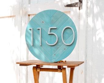 Chevron Address Plaque, Herringbone Address Sign, Address Plaque, Wooden House Numbers, Midcentury Modern House Numbers, Wooden Number Sign