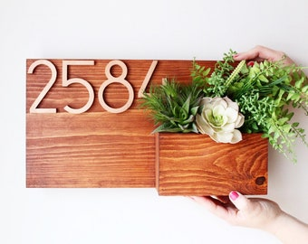 Planter House Numbers, House Numbers Planter, Wood House Number Sign, Housewarming Gift, Apartment Decor, Apartment Gifts, Apartment Number