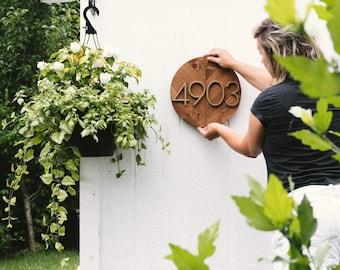 Wooden Address Sign, Round Address Sign, Address Plaque, Modern Address Plaque, Housewarming Gift, House Numbers