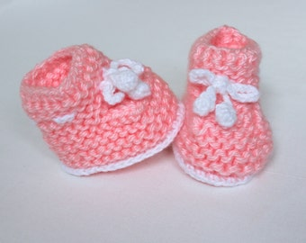 Pink Baby Girl Booties, Pink Baby Girl Shoes, Handmade Baby Booties, Handmade shoes, Baby Shower Gift, Winter Booties, ready to ship