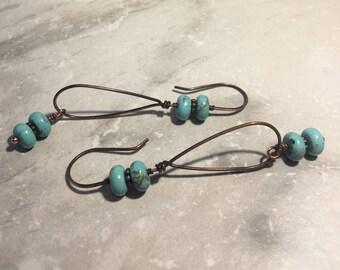 Howlite and Copper Hoop Earrings