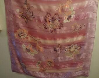 Scarf Pink 80's Andrienne Landau Studio Floral