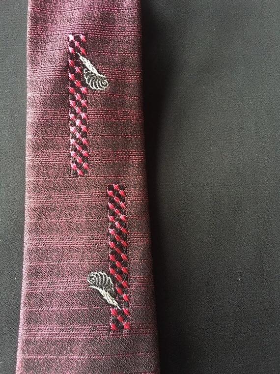 40's Skinny Tie Red and Black Vintage Acetate