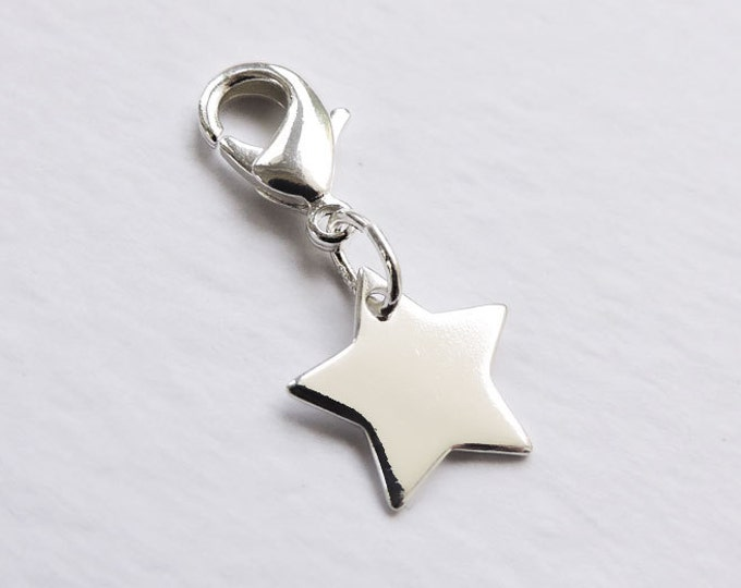 Sterling silver star charm with lobster clasp/bolt for charm bracelets or necklaces - Large silver star charm - charm bracelet - space, sky