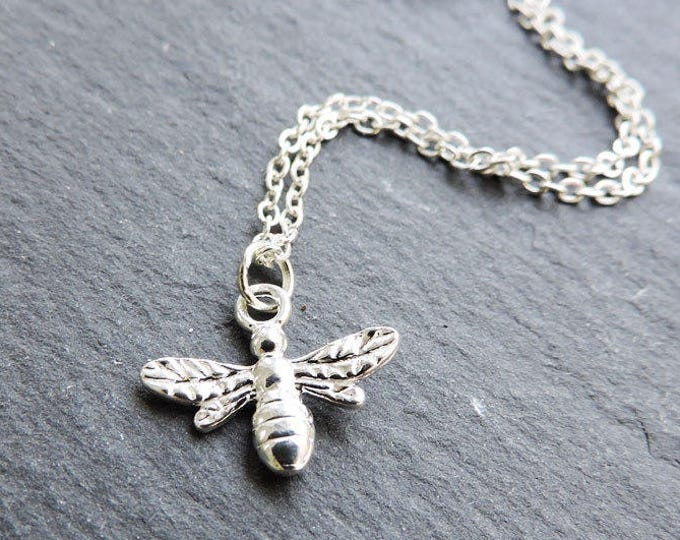 Sterling silver Bee Charm - charm necklace, simple nature charm, 3D bumble bee charm, insect charm, flying charm