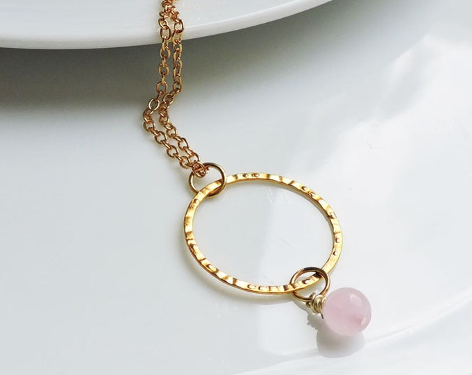 Rose Quartz Drop & Gold Circle Pendant Necklace on Gold Chain - Delicate pink and gold ring charm bead necklace