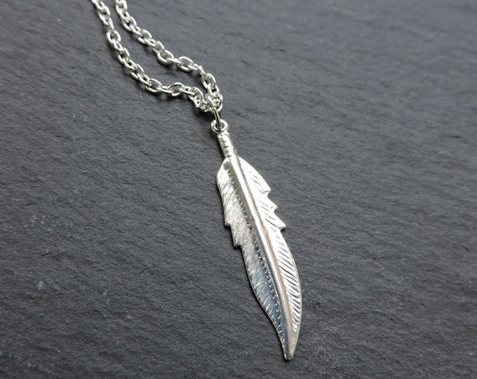 Silver feather necklace - Long silver boho charm pendant, silver layering pendant in choice of custom lengths, hippy feather charm necklace