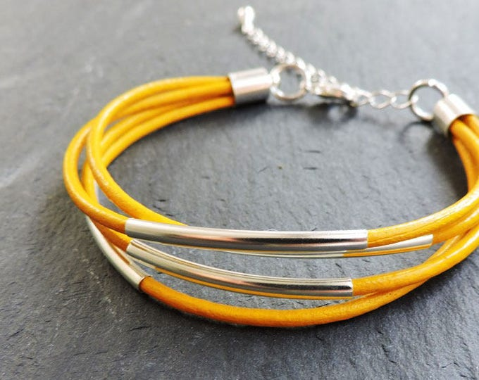 Silver & Yellow Leather Bracelet - Bright yellow orange multi-strand silver tube bracelet with extender chain - Handmade to custom length