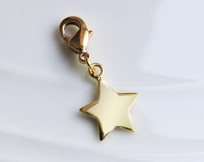 Gold Star Charm with lobster clasp for bracelets/necklaces - Little 24ct gold star, night sky, astronomy, bolt-on flat five point star